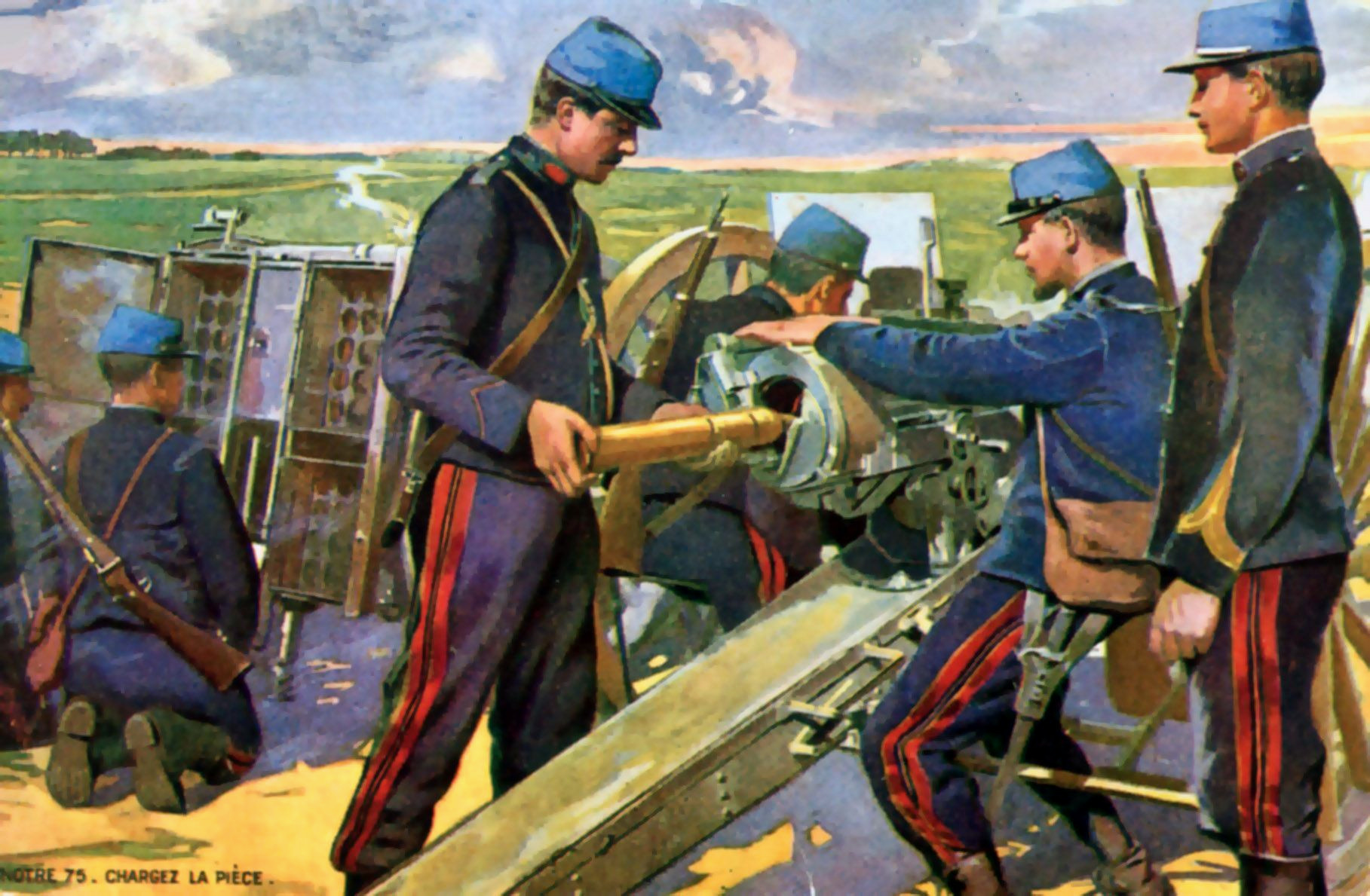 French artillery crew in battle WW1 War Art