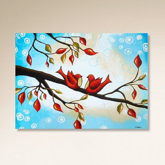 Peinture A Domicile Frais Love Birds Painting Tree Painting Blue Painting On Canvas Red Images