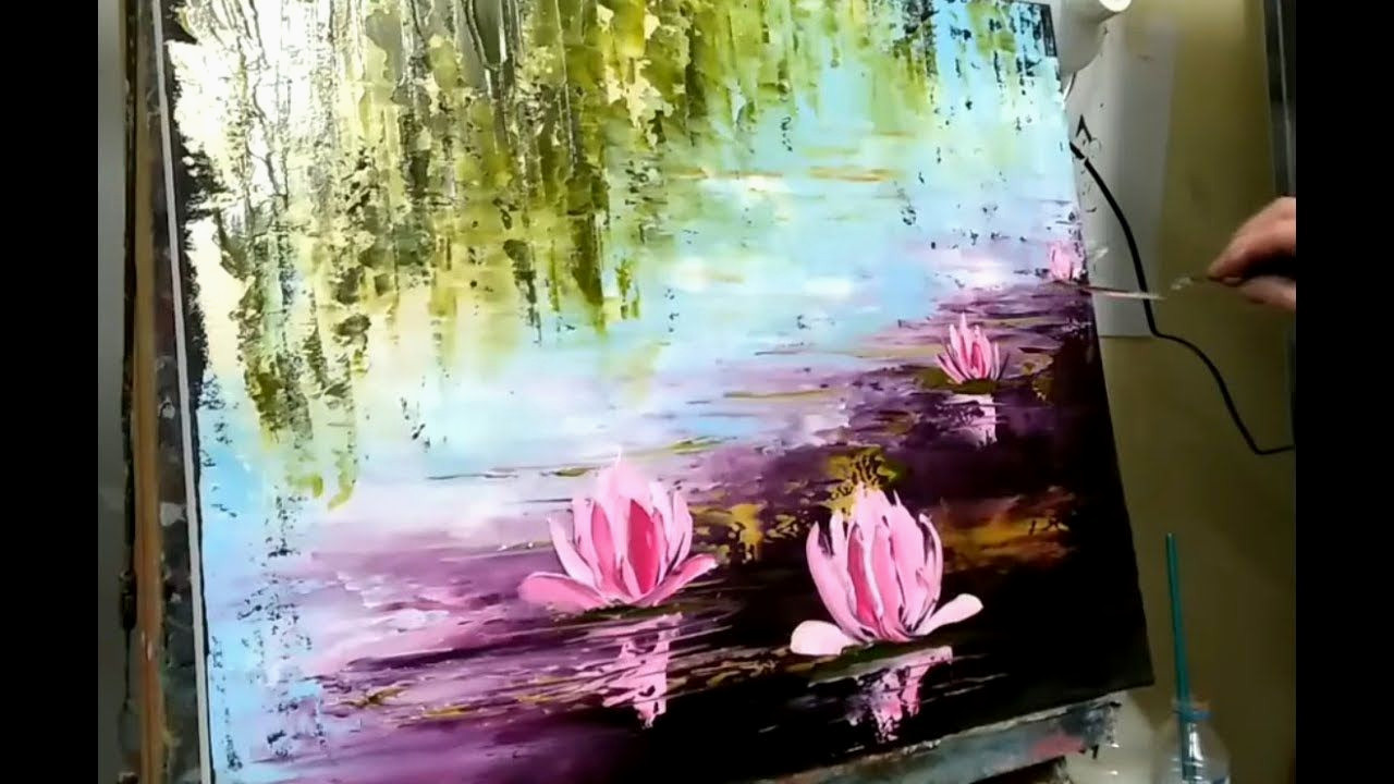 Peinture Epoxy Metal Inspirant Knife Painting Water Lily by Nelly lestrade English Subtitles Des Images