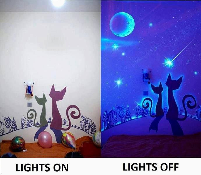 Peinture Fluorescente Exterieur Inspirant Glow In the Dark Paint Wall Murals Idées Pour La Maison Collection