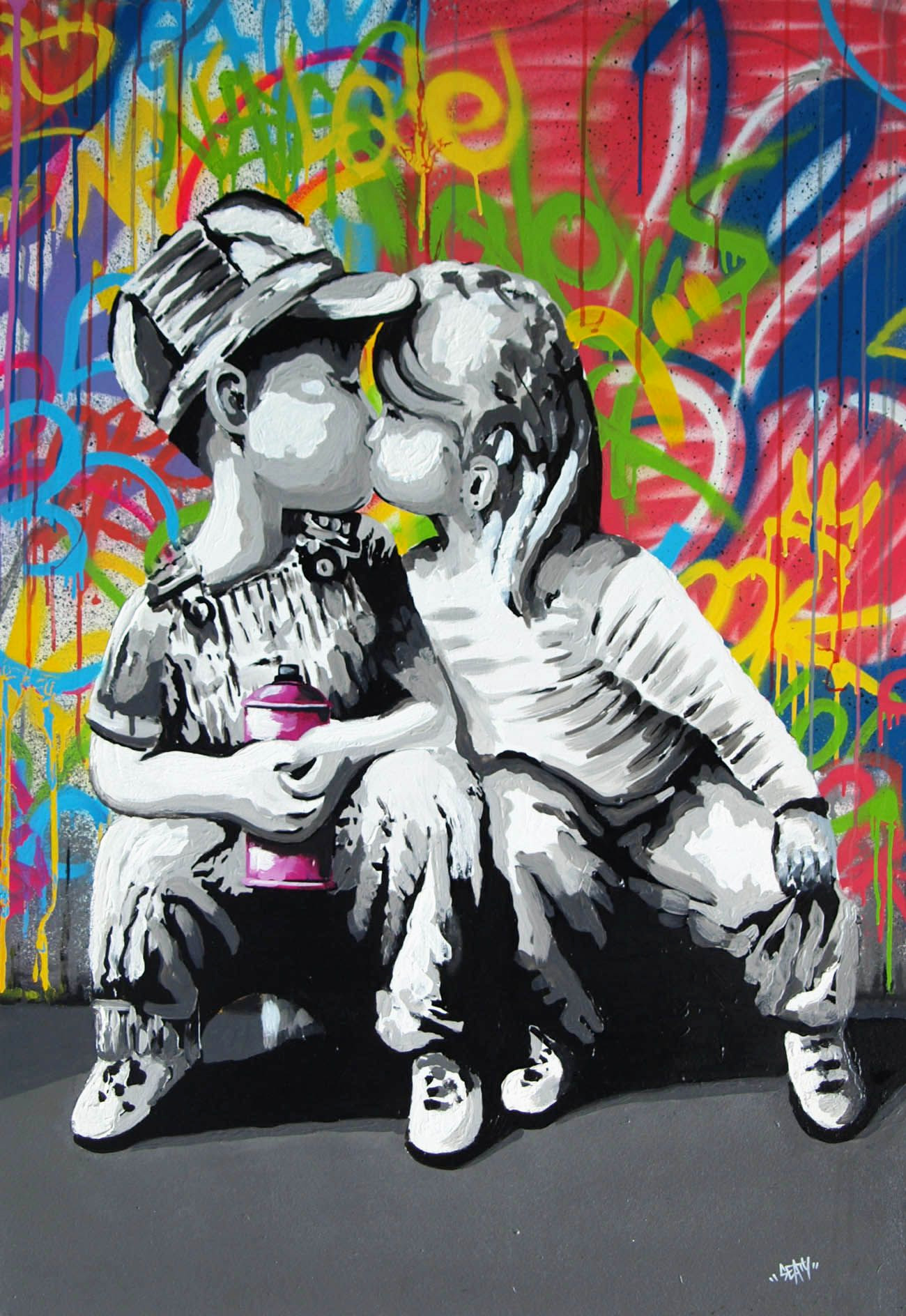 Pinceau Peinture Murale Élégant Seaty Kiss Street Art Art In 2019 Collection