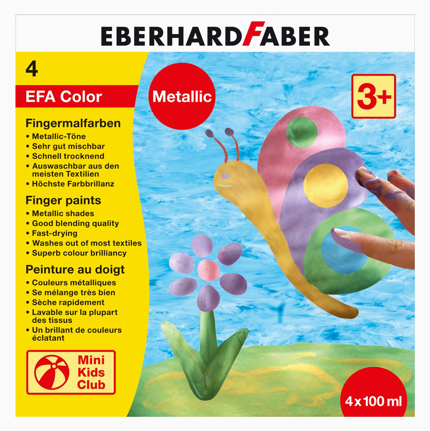 Eberhard Faber Fingerfarbe Metallic 100 ml 4er Set je