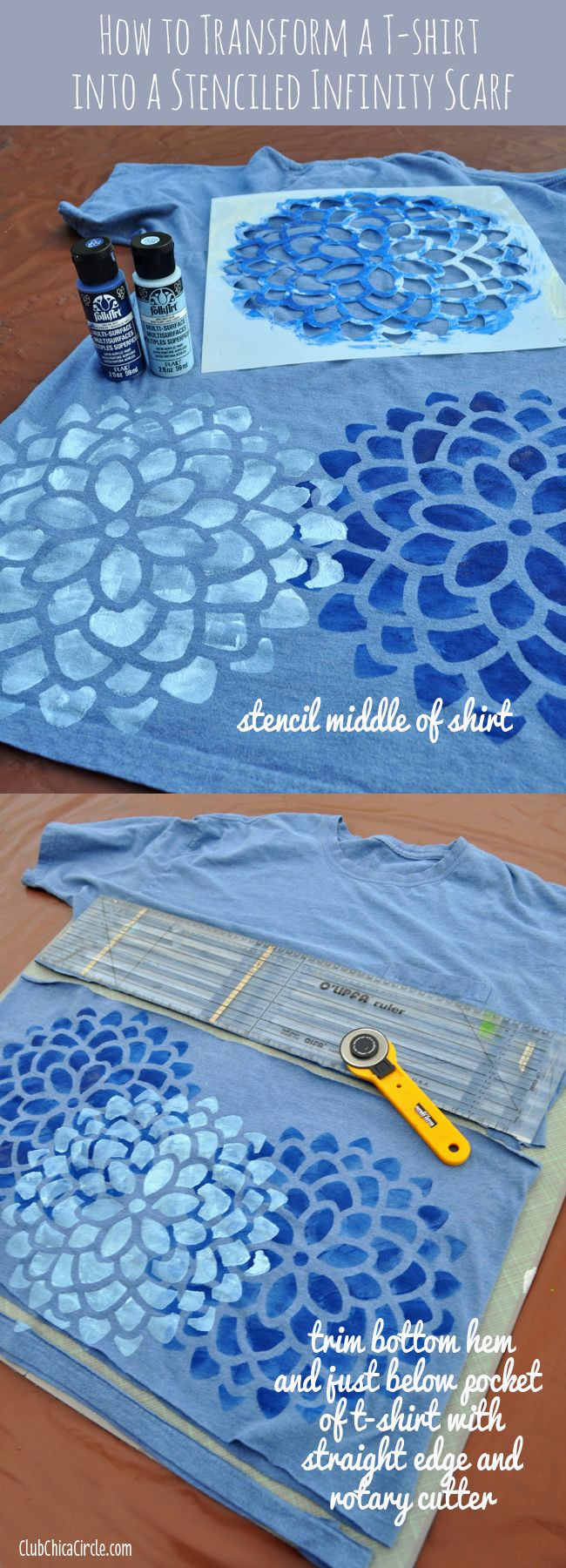 Tee Shirt Peinture Meilleur De How to Turn A T Shirt Into A Cool Stenciled Infinity Scarf so Easy Galerie